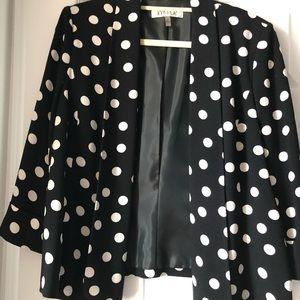 Kasper jacket 3/4 sleeve polka dot jacket